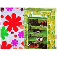 Lakshya White With Colour Flowers Shoe Rack