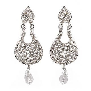 Kriaa White Graceful Fancy Designer Earrings -1300903