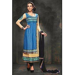 Ethnicbasket Designer Cream+Blue Salwar Kameez.