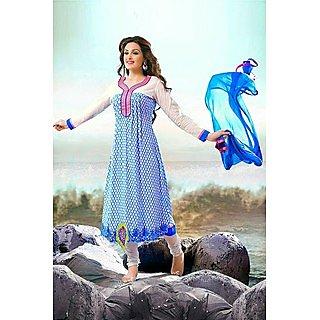 Ethnicbasket Designer Blue & Off White Salwar Kameez.