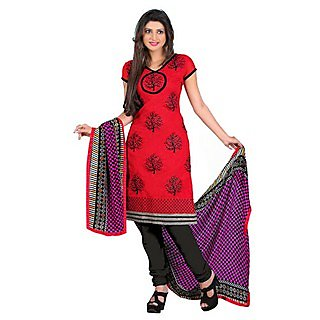 Ethnicbasket Party Wear Red Dress Materials .