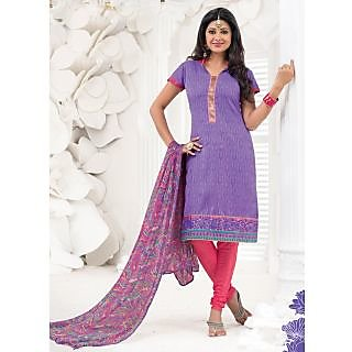 Swaron Purple  Pink coloured Cotton UnStitched Salwar Kameez 148D6006