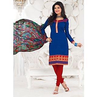 Swaron Blue Mukaish Unstitched Dupion Silk Salwar Kameez