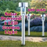 Gadget Hero's Solar Powered Rechargeable LED Flowerbed Garden Lawn Walkway Driveway Light Lamp Auto On Waterproof 600 mAh rechargeable battery. Silver