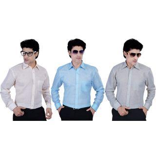 Caris Linen Formal Shirts Set Of 3