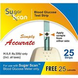 Thyrocare Sugar Scan 25 Strips + FREE 25 Lancets for Glucometer Blood Sugar Monitor