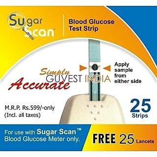 Thyrocare Sugar Scan Strips (25 Strips + 25 Lancets)