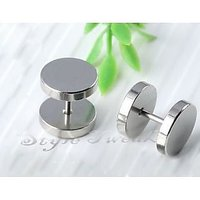 Large 12mm Silver Barbell Earrings Plug - Pair