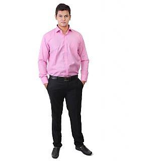 Real Value Pink Slim-Fit Full Sleeves Men's Formal Shirt