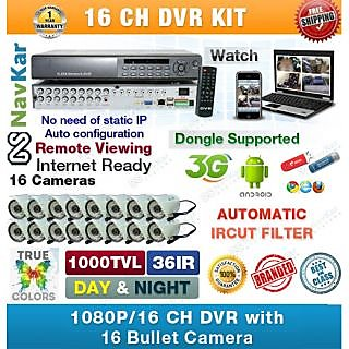 16 Ch DVR with 16 Bullet Camera 1000TVL 36 IR, Wire, Power Supply, Connectors