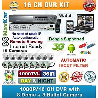 16 Ch DVR 8 Dome + 8 Bullet Camera 1000TVL 36 IR, Wire, Power Supply, Connectors