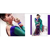 Festiv Collection Net Crape Silk Green Maroon Blue Saree Saas2216