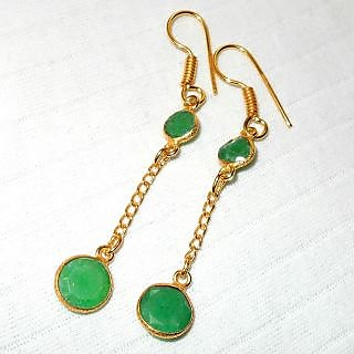 Emerald Corundum gemstone Brass Earring.ABJSY957C