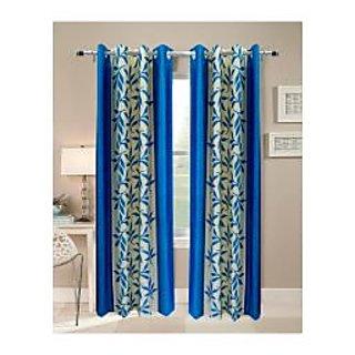 FabBIg Superior kolaveri aqua blue polyster curtain (set of 2)