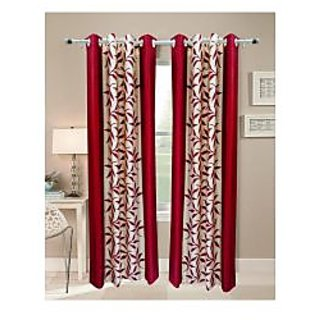 FabBIg Superior kolaveri maroon polyster  curtain (set of 2)