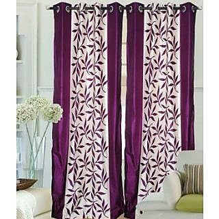 FabBIg Superior kolaveri wine polyster curtain (set of 2)