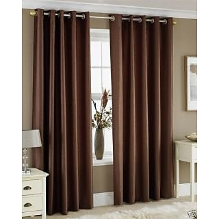 FabBIg Solid brown plain crushed polyster door curtain (set of 2)