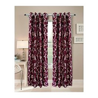 FabBIg Solid Maroon Flower Printed polyster door curtain (set of 2)