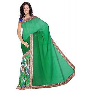 Utsav Fabrics Party Wear Green Color Saree