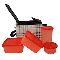 Topware Burbery Check Lunch Box Food Grade Containers and Insulated Bag (4 Pcs)