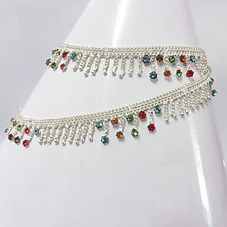 Rabbi Arya Color stone  silver plated  anklet payal