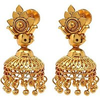 Goldnera Gold Plated  Gold Jhumkis For Women