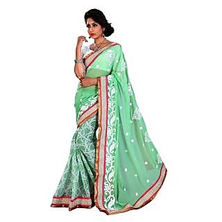 Urjita Creations Lime Colour Resham Embroidered Designer Party Wear Saree Blouse available at ShopClues for Rs.825