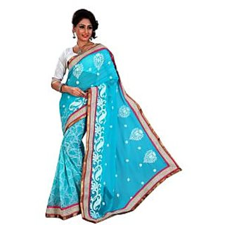 Urjita Creations Cyan Colour Resham Embroidered Designer Party Wear Saree With B available at ShopClues for Rs.825