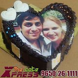 Heart Shape Chocolate Photo Cake-Delhi NCR