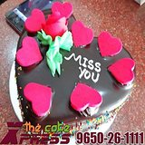 Miss You Heart Shape Designer Cake-Delhi NCR