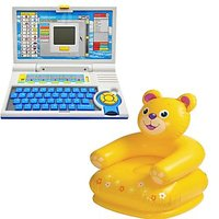 Children Combo English Learner Laptop And  Teddy Chair
