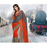 FAUX GEORGETTE SAREE IN DOUBLE SHADES              BL-630-B