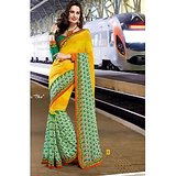 FAUX GEORGETTE SAREE IN DOUBLE SHADES              BL-631-A