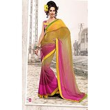 FAUX GEORGETTE SAREE IN DOUBLE SHADES              BL-639-A