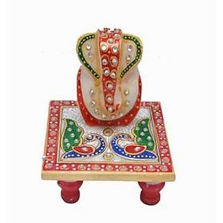 Bazarvilla Hi Quiality Marbal Choki Ganesh Lord Ganesh Jaipuri Handicraft