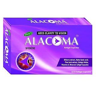 Shreys Alacoma for Diabetic Retinopathy  Glaucoma (Bilberry, Pine Bark  Ginkgo Biloba Extracts)