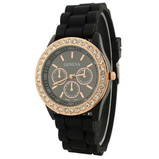 Geneva Round Dial Black Silicone Strap Womens Quartz Watch
