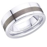 Peora 8 Mm Versatile Dual Finish Tungsten Carbide Men'S Ring