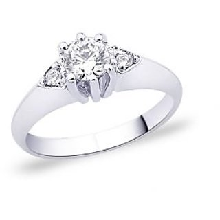 Peora Sterling Silver Prong Set Round Cz 3-Stone Engagement Ring PR2000