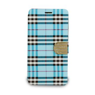 Then&There Check Print Flip With Rhinestone Clip (Blue) For Samsung Note 4