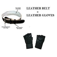 Combo Offer..!! Leather Belt + Leather Gym Gloves
