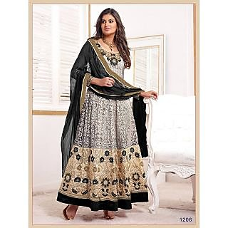 Grey & Cream coloured Faux Georgette Free Size Semi Stitched dress