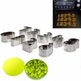9pcs Stainless Steel Number Shape Cookie Models Baking Models With Green Plastic Box