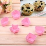 6pcs Lovely Hot Sell Silicone Muffins Cup Cake Model With Different Shapes (pink)