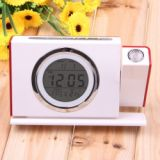 Newstyle Sound Controlled Talking Projection Alarm Clock With Calendar Thermometer Led Backlight Function White With Red