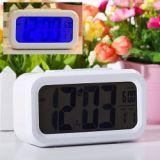 Novel 4.5 Inch Lcd Digital Alarm Clock Alarm Calendar With Blue Backlight And Sensor Control Function White