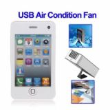 Novel Mini Usb Fan Hand Held Phone Shape Air Condition Fan With String White
