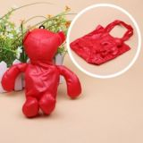 Vivid Color Foldable Bear Shape Shopping Bag Environmental Bag With Key Chain Red