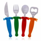 Novel Stainless Steel Dinnerware Fork Spoon Knife Bottle Opener With Hand In Hand Plastic Handle