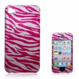 Fashion Zebra-stripe Print Hard Protect Skin Case Cover For Iphone 4 4s (peach)